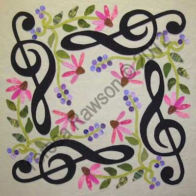 """FABRIC THERAPY - great blog. She's planning a music themed quilt """"Baltimore Rhapsody"""" - can't wait!"""