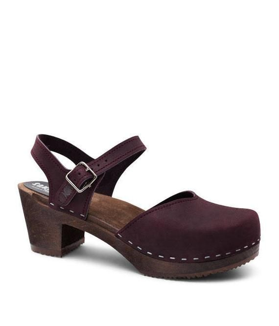 4d036a897310b Authentic Swedish Clogs / Leather Clogs / Mid Heel Wooden Clogs ...