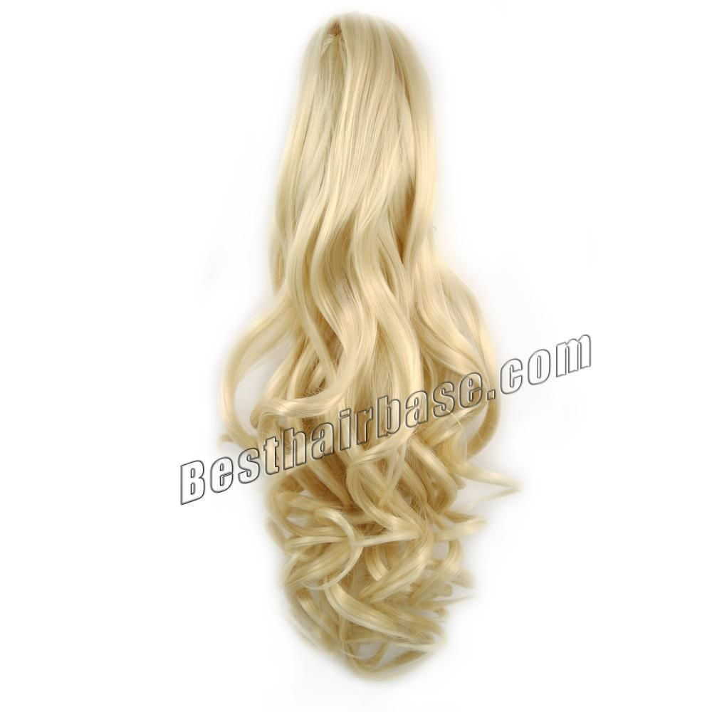 Claw Clip 613 Bleach Blonde Remy Curly Hair Ponytail Extension With