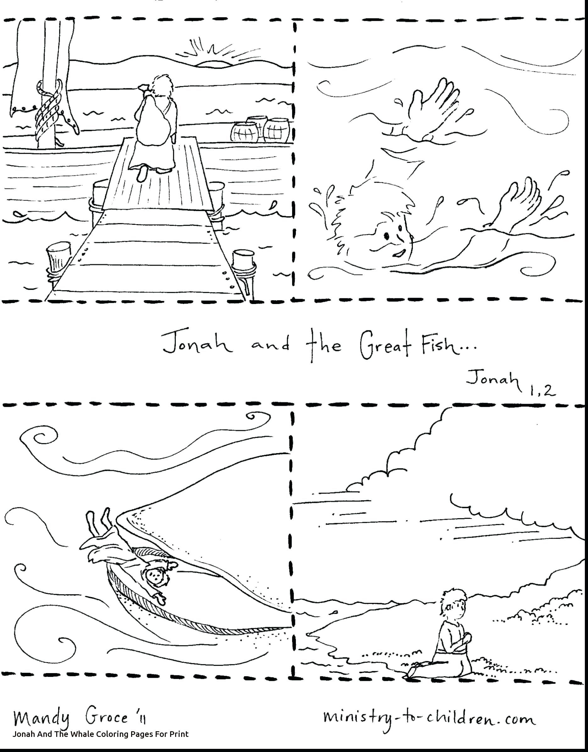 Full Jonah And The Whale Coloring Sheets Pages Veggie