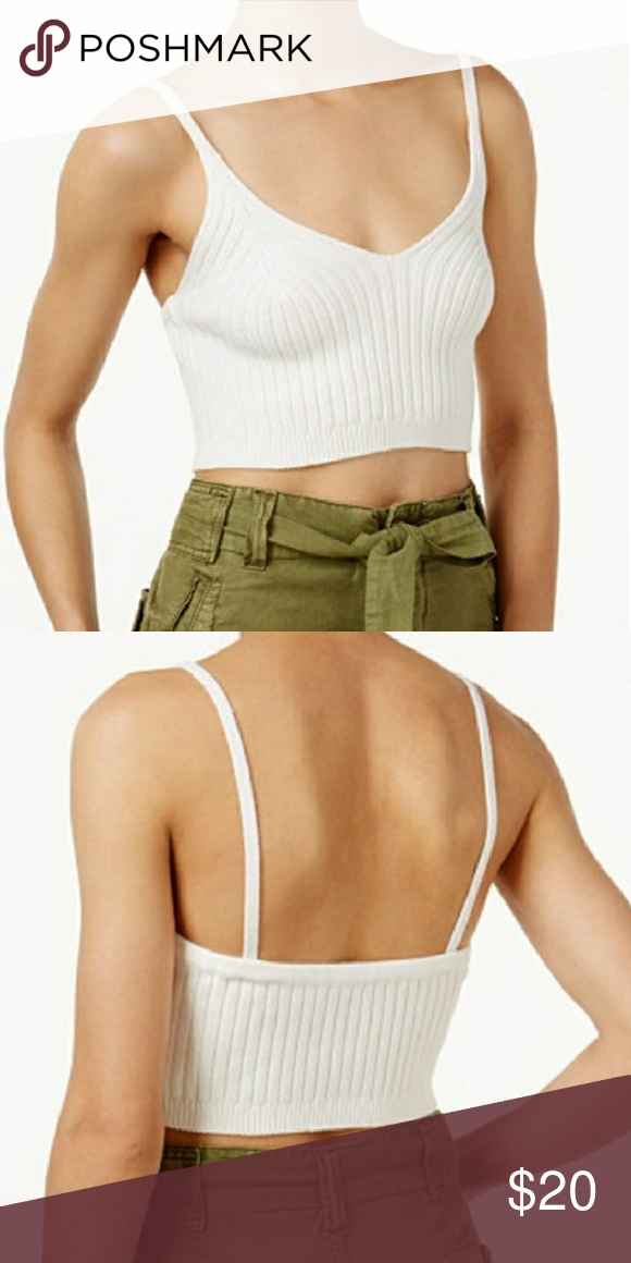 Free People Ribbed Crop Top Size small Worn once, in excellent condition  No flaws  White Free People Tops Crop Tops