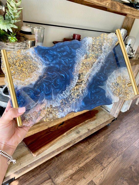Geode agate DARK Navy blue resin decorative servin