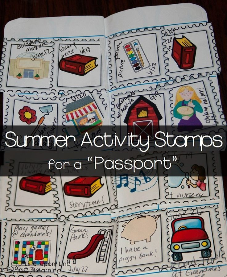 Summer Activity Stamps. We use these graphics to track all the fun things we've been doing this summer! | Line upon Line Learning blog