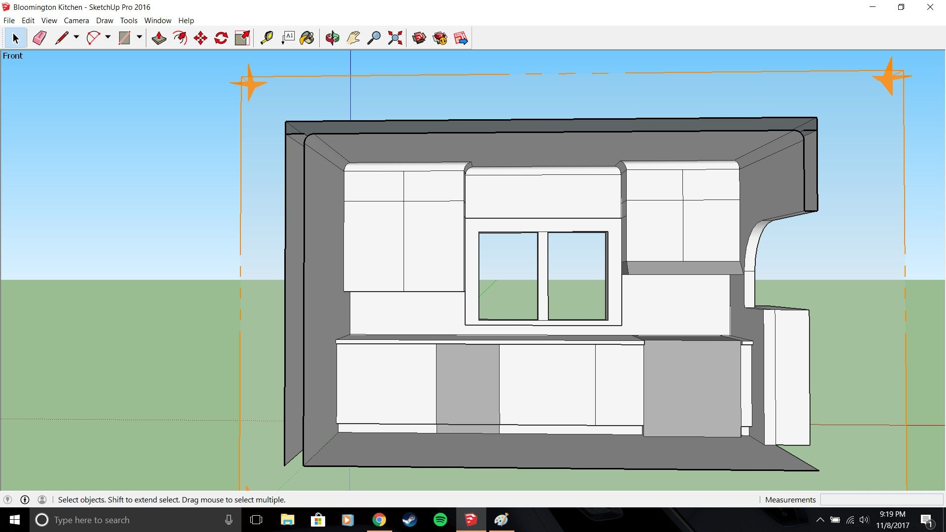 Google Sketchup Model Of The Cabinet Arrangement For The South