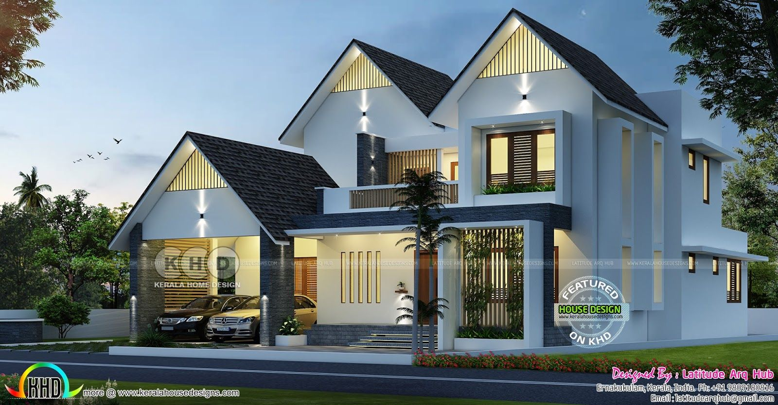 Sloping Roof Western Model Home Design Kerala House Design Colonial House Exteriors House Designs Exterior