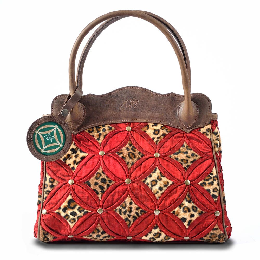 Handbag Red Leopard Silk & Leather (With images
