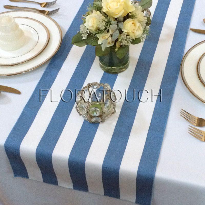 Exceptional Blue And White Striped Table Runner With Blue Stripes On The Borders