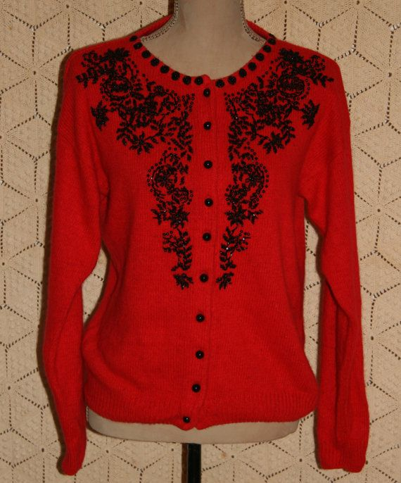 7b86a44a693 Vintage Beaded Cardigan Sweater 80s Red Cardigan Silk Angora Black ...