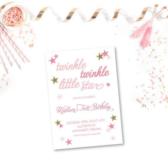 twinkle twinkle little star birthday invitation 5x7 birthday photo