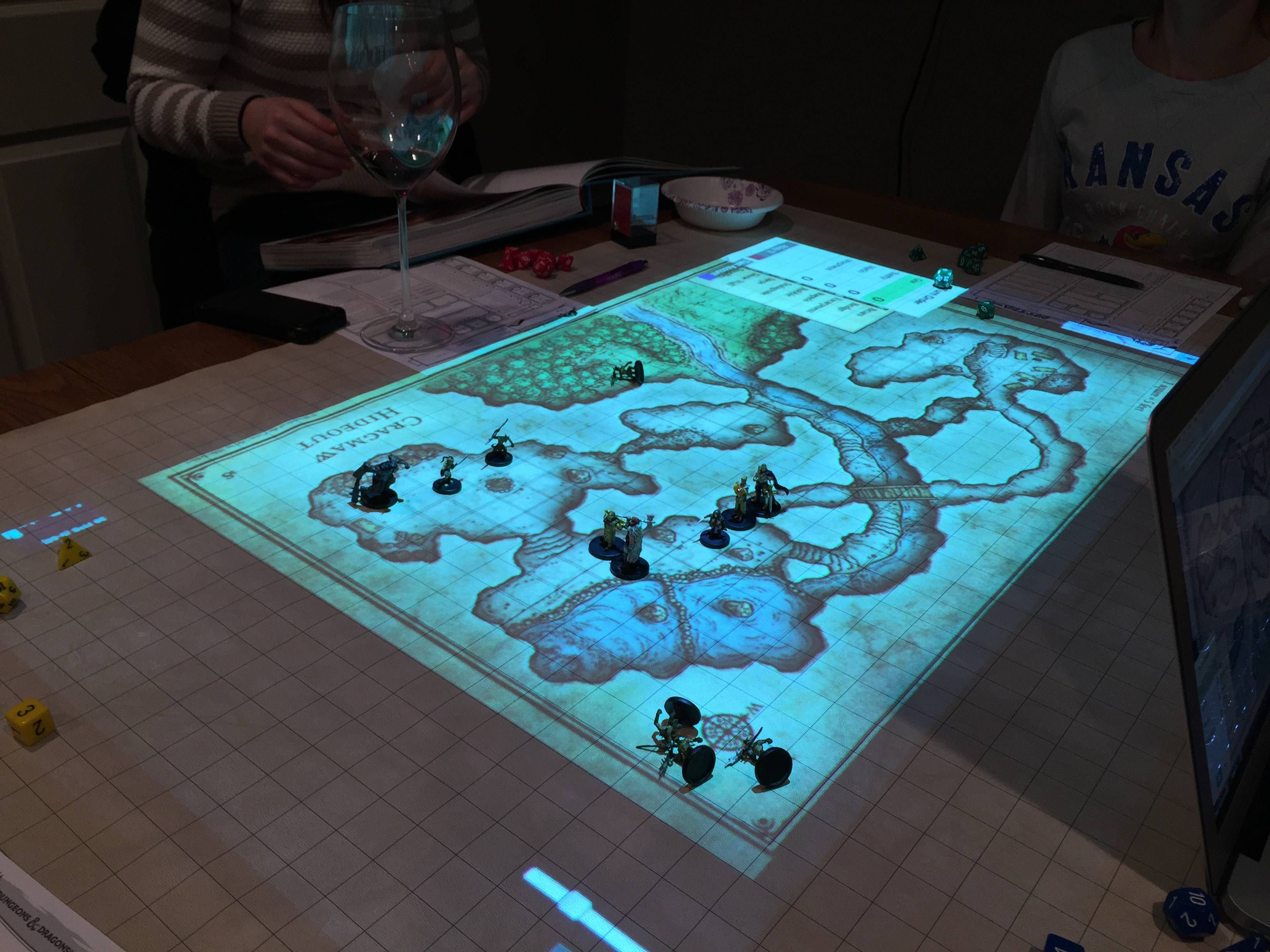 D Amp D With Minis On Digital Mat Tabletop Tabletop Rpg