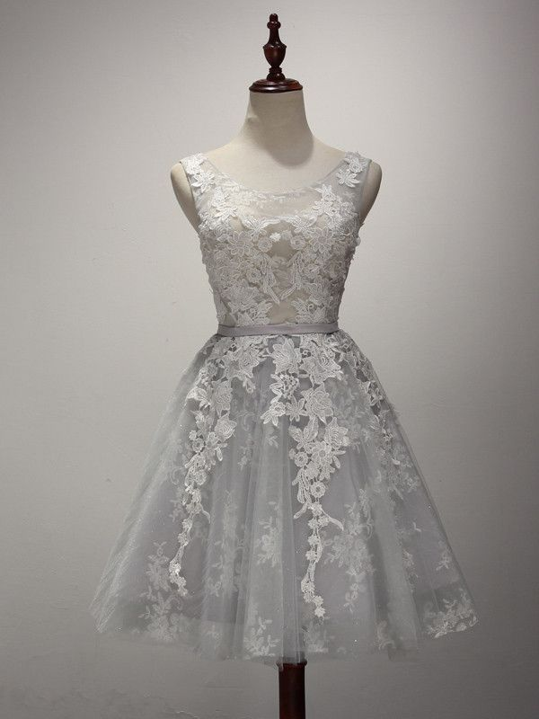 Gray Lace Tea Length Dress
