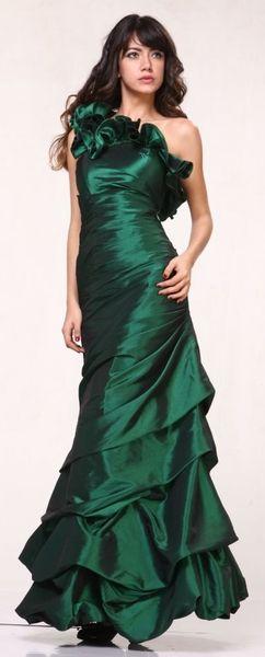 Clearance Plus Size Olive Green Dress Taffeta One Shoulder Ruffle
