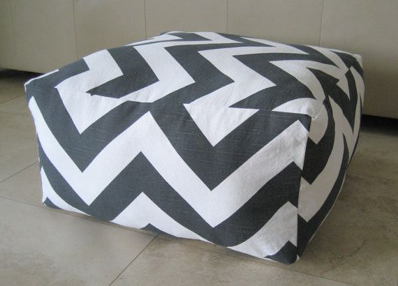 Large Pouf Floor Pillow, Charcoal/White by Aletafae contemporary ...