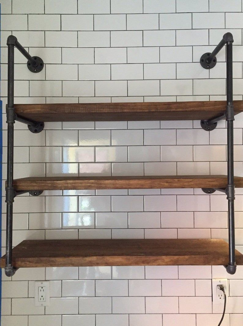 Floating Wall Unit 9 25 Deep Various Width W Three Etsy Rustic Industrial Kitchen Industrial Kitchen Design Industrial Floating Shelves
