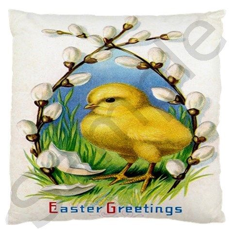 """Victorian Easter Large Cushion Case (Two Sides) - Vintage, """"Public Domain"""", Ephemera, Victorian, Retro, Kitsch, Shabby, Chic, Easter, Bunny, Rabbit, Chick, Chicken, Egg, Spring, Lamb,"""