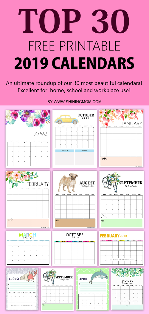 Top 30 Free 2019 Printable Calendar Planners Awesome Designs