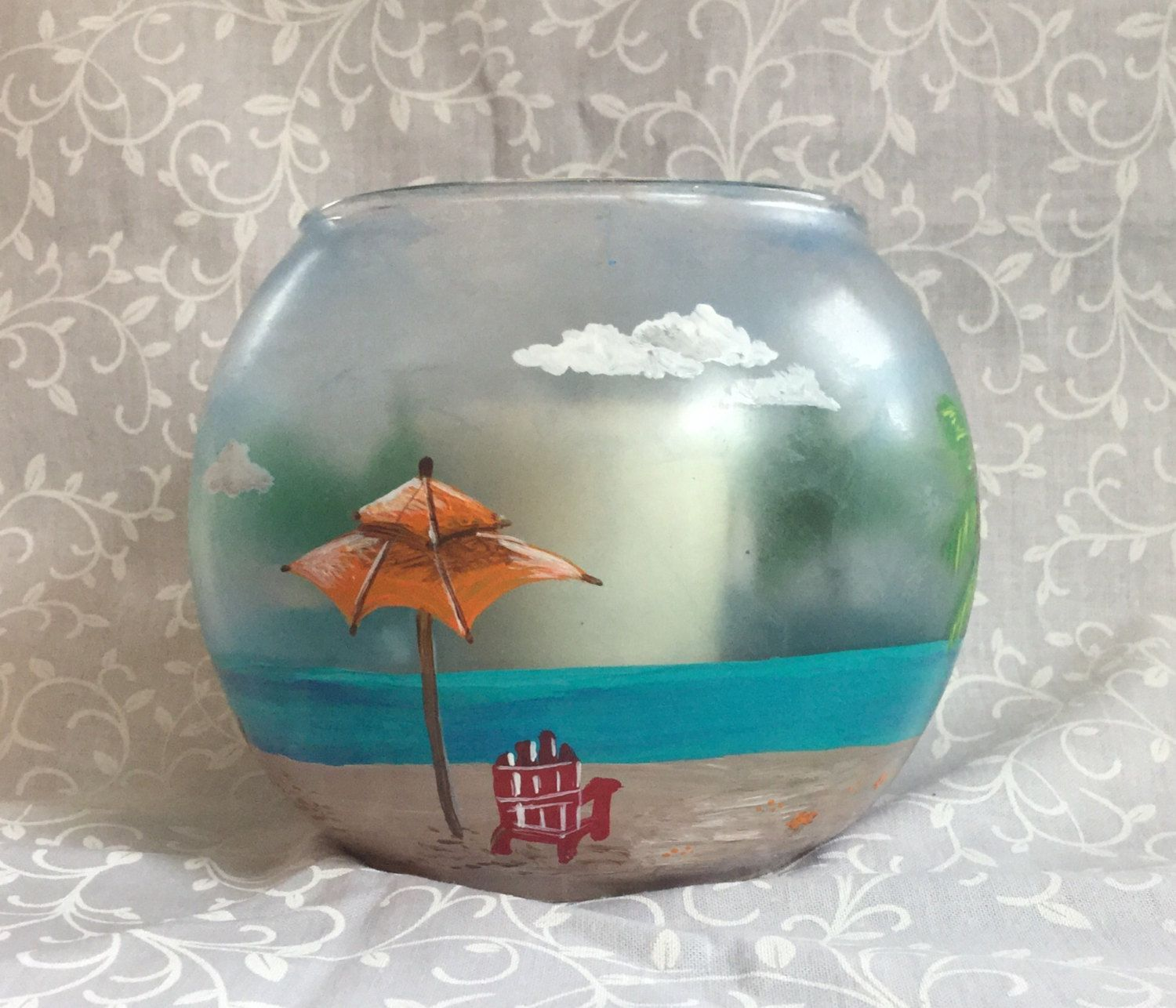 Beach scene glass votive candle holder glass votive candle holders