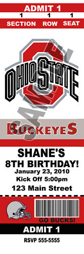 Custom Ohio State Football Birthday Party Invitations