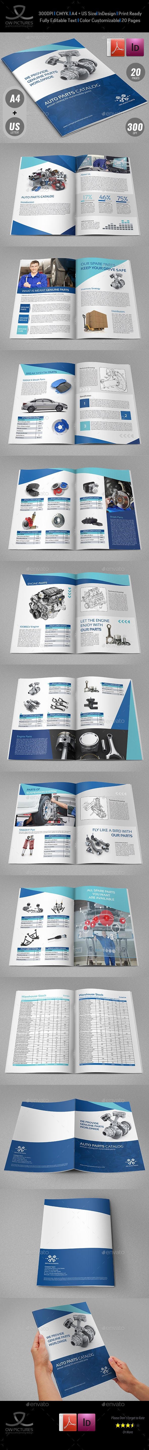 Auto Parts Catalog Brochure Template 20 Pages — InDesign INDD car tools • Available here