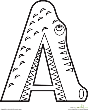 letter a coloring page - Letter Coloring Pages Preschool