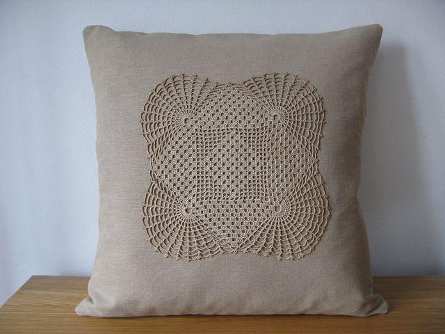 Vintage antique french crochet lace doily cushion pillow cover | crochet pillow cover vintage lace