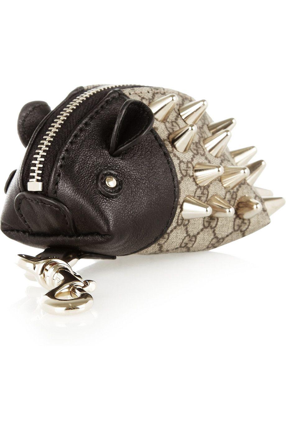 656678e72b29 Gucci | Hedgehog leather and twill coin purse | NET-A-PORTER.COM ...
