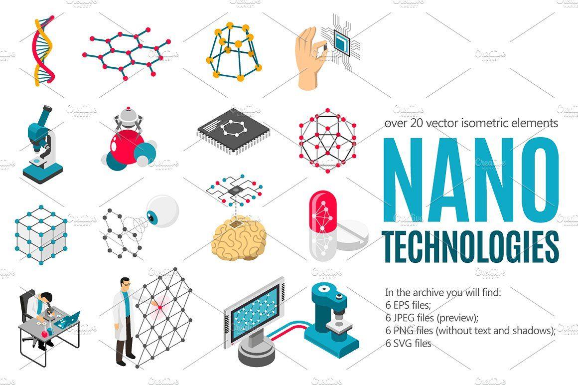 Nanotechnologies Isometric Set Nanotechnology Nanotechnology Art Technology