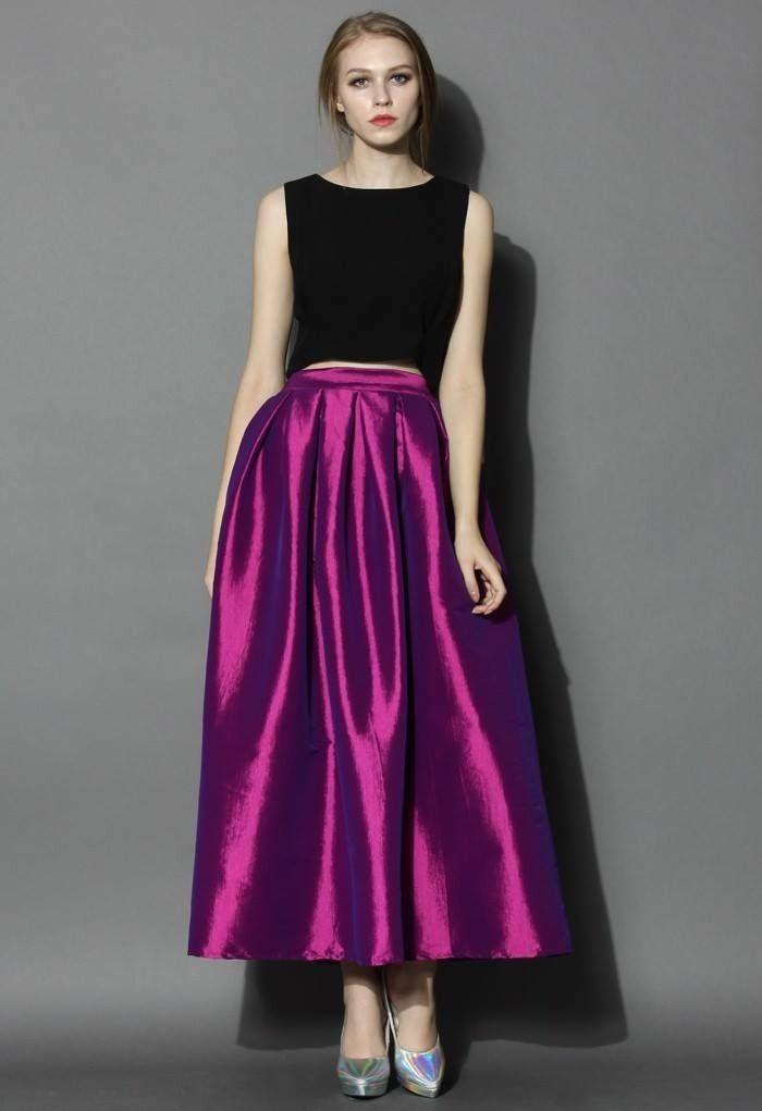 Falda morada | Vestidos fiesta y día | Pinterest | Falda, Cintura ...