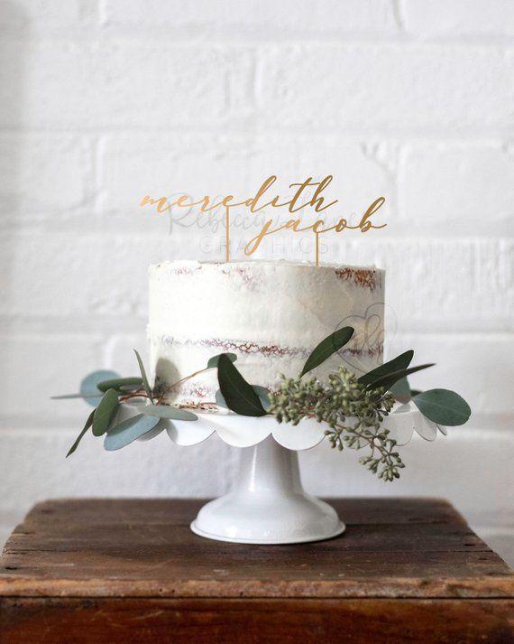 Name Cake Topper | Wedding Cake Topper | Gold Wedd