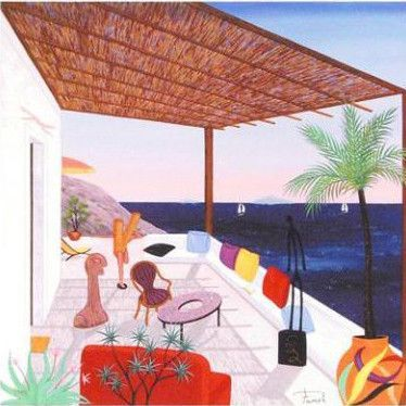 Palapas Lipari Limited Edition Giclee on Canvas by Fanch