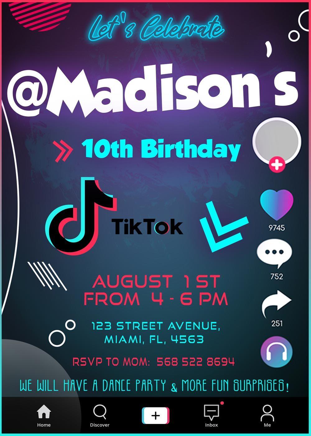 Fantastic Tik Tok Party Birthday Invitation Oscarsitosroom Birthday Party Invitations Free Birthday Party Invitations Printable Birthday Invitations