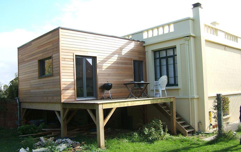 Extension maison toit plat sur pilotis travaux maison Pinterest