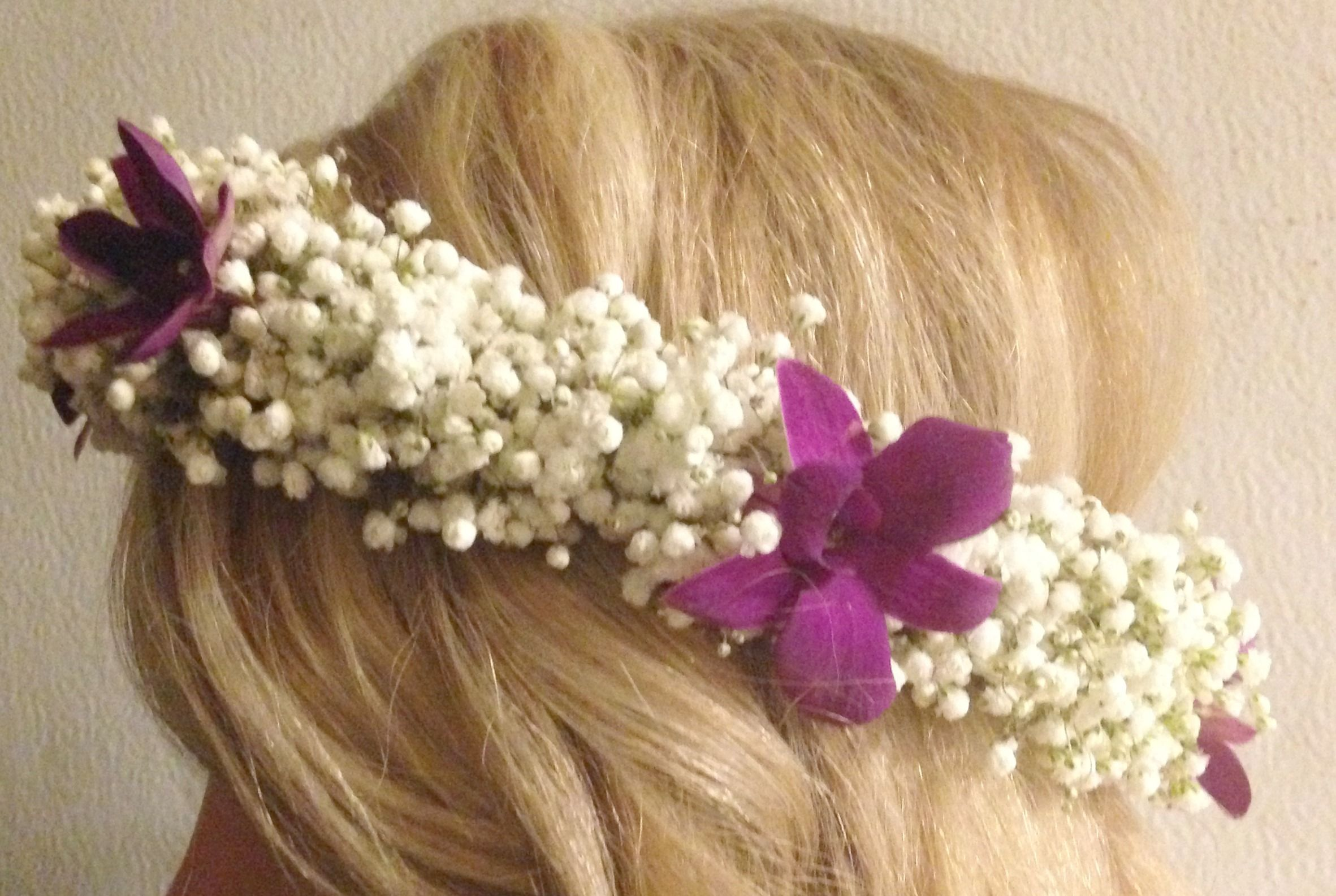 floral halo for a bridal shower with baby's breath and fuschia colored orchids Always With Flowers - Lemont, IL