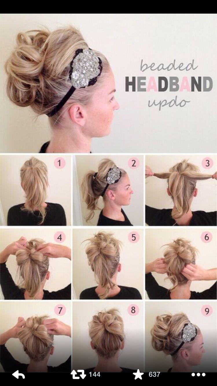 Beaded headband updo hurr pinterest headband updo and updo