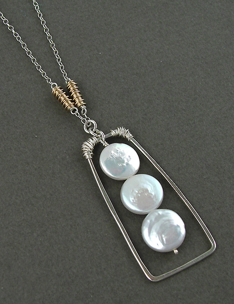 Photo of coin pearl sterling silver necklace . . . handmade in usa — MUSEUM  OUTLETS – …