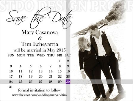 5.4x4.1 inch save the date magnet design with a photo and calendar #wedding