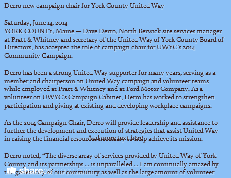 Derro New Campaign Chair For York County United Way United Way