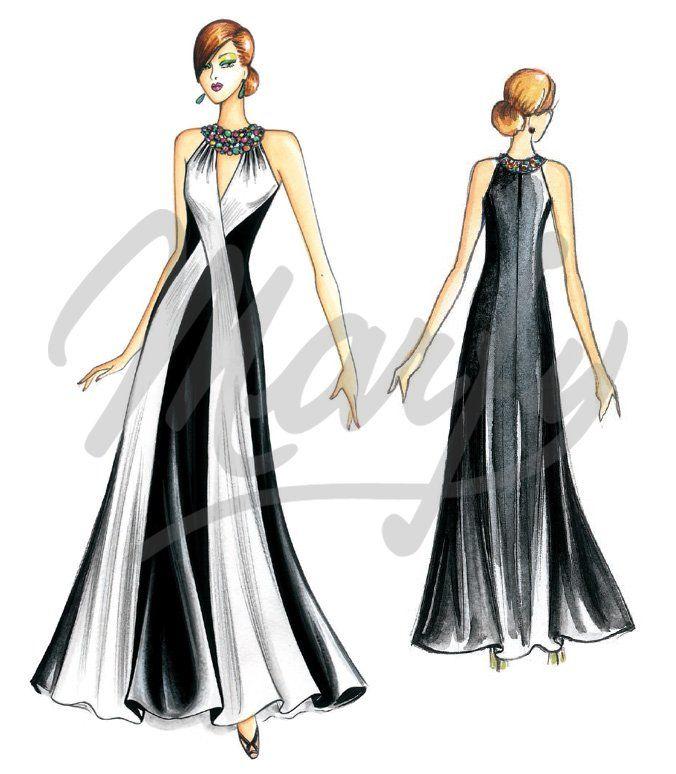 Patrones cortados a mano :: Vestidos de noche :: Patrón de costura ...