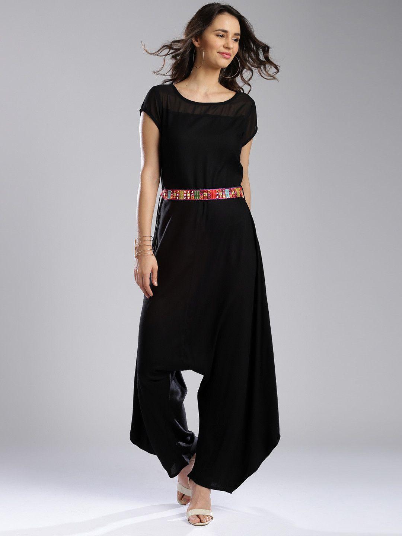 5b6ae1307 IMARA Fusion by Shraddha Kapoor Black Crepe Solid Jumpsuit ...