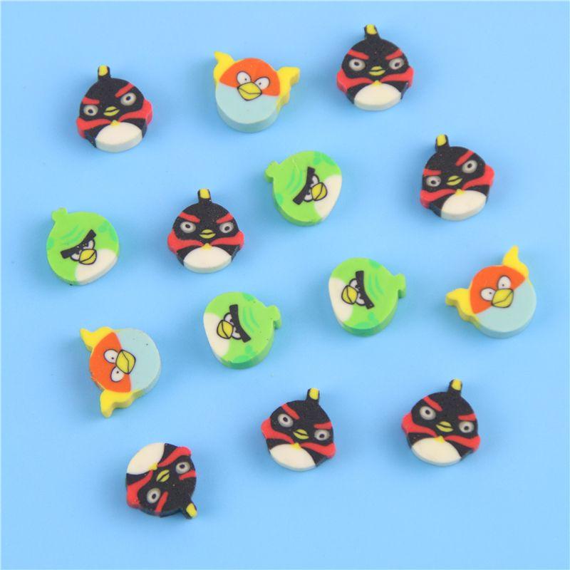 10 개/갑 새로운 귀여운 미니 다채로운 새 만화 동물 재미 지우개 고무 아이 선물 혼합 잘 포장