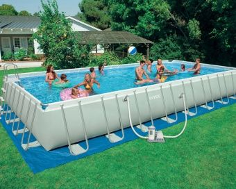 Intex 32 X 16 X 52 Ultra Frame Pool Set Only 1 299 99 Rectangular Swimming Pools Swimming Pools Intex Swimming Pool