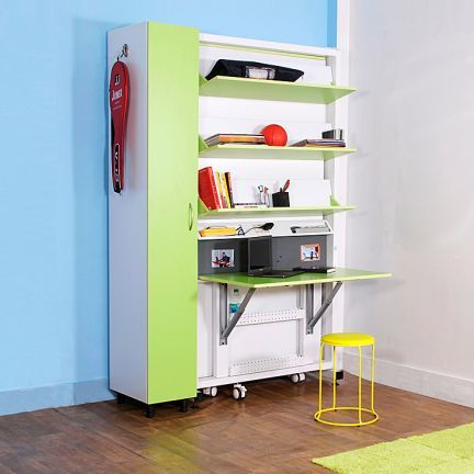 SpaceOne Vertical Single Bed Cum Study Table Cum Wardrobe White And Green    Intelligent Design Get