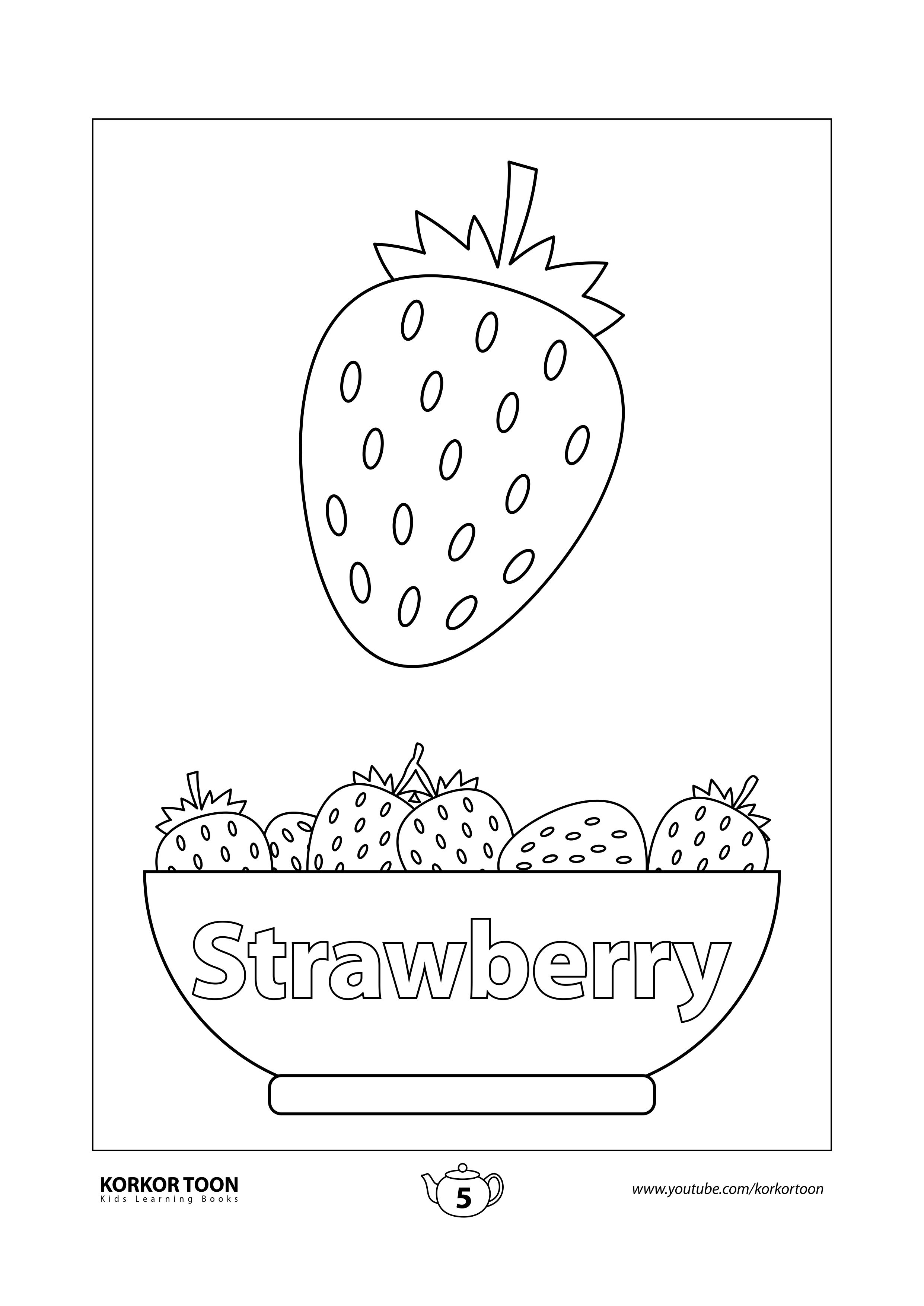 Fruits Coloring Book For Kids Strawberry Page 5 Coloring Books Kids Coloring Books Printables Free Kids
