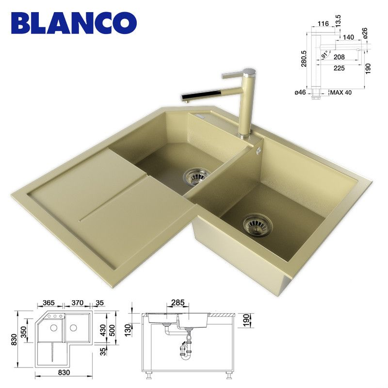 3D Kitchen Sink Blanco - 3D Model