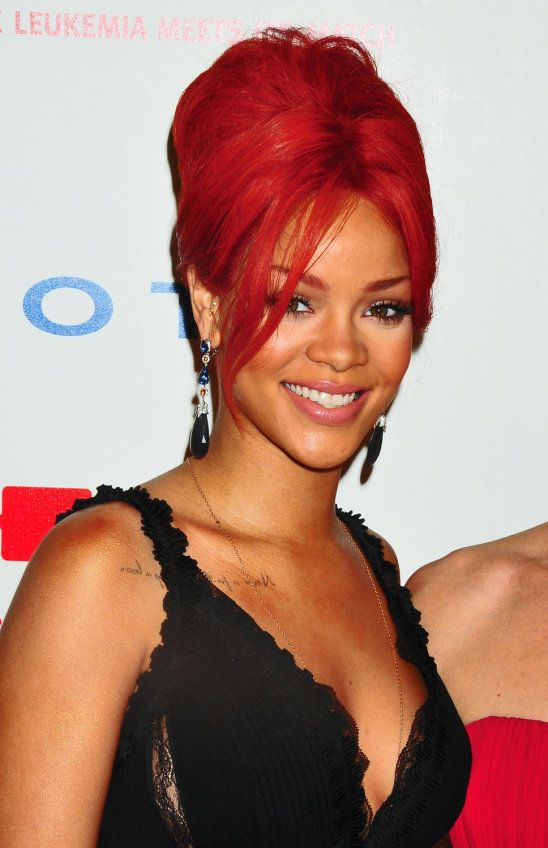 Fine Rihanna Red Hair Eyebrows Black Earrings Pink Lips Hair Upstyles Short Hairstyles For Black Women Fulllsitofus