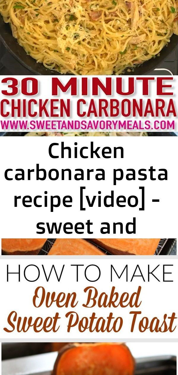 Chicken carbonara pasta recipe [video] - sweet and savory meals #grilledchickenparmesan Chicken Carbonara is a creamy, sinful and indulgent dish. Made with egg yolks and loads of cream, this recipe can easily be a staple comfort food of the family!  #chickenfoodrecipes #chicken #pastarecipes #pasta #carbonara #sweetandsavorymeals #recipevideo  Pasta Florentine with Grilled Chicken #purewow #recipe #cooking #food #dinner #grilling #chicken #pasta Garlic Parmesan Roasted Sweet Potatoes Recipe - #e #grilledchickenparmesan