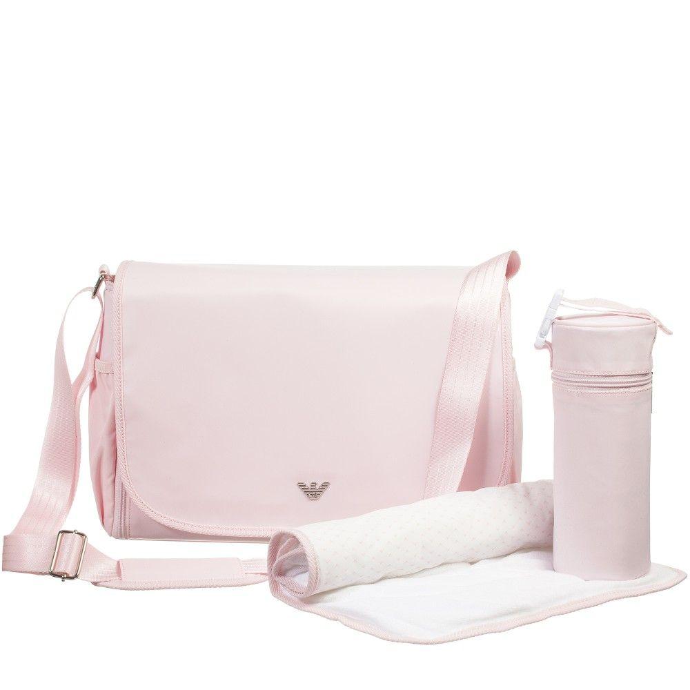 Armani 3 Piece Pink Baby Changing Bag Set 40cm At Childrensalon
