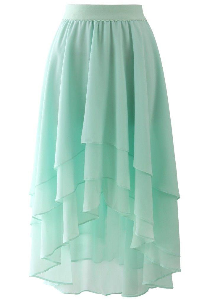 Macaron Mint Asymmetric Waterfall Skirt