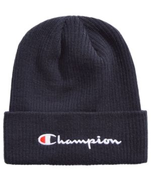 Champion Men s Cuffed Ribbed-Knit Beanie - Black in 2019  c903586242d