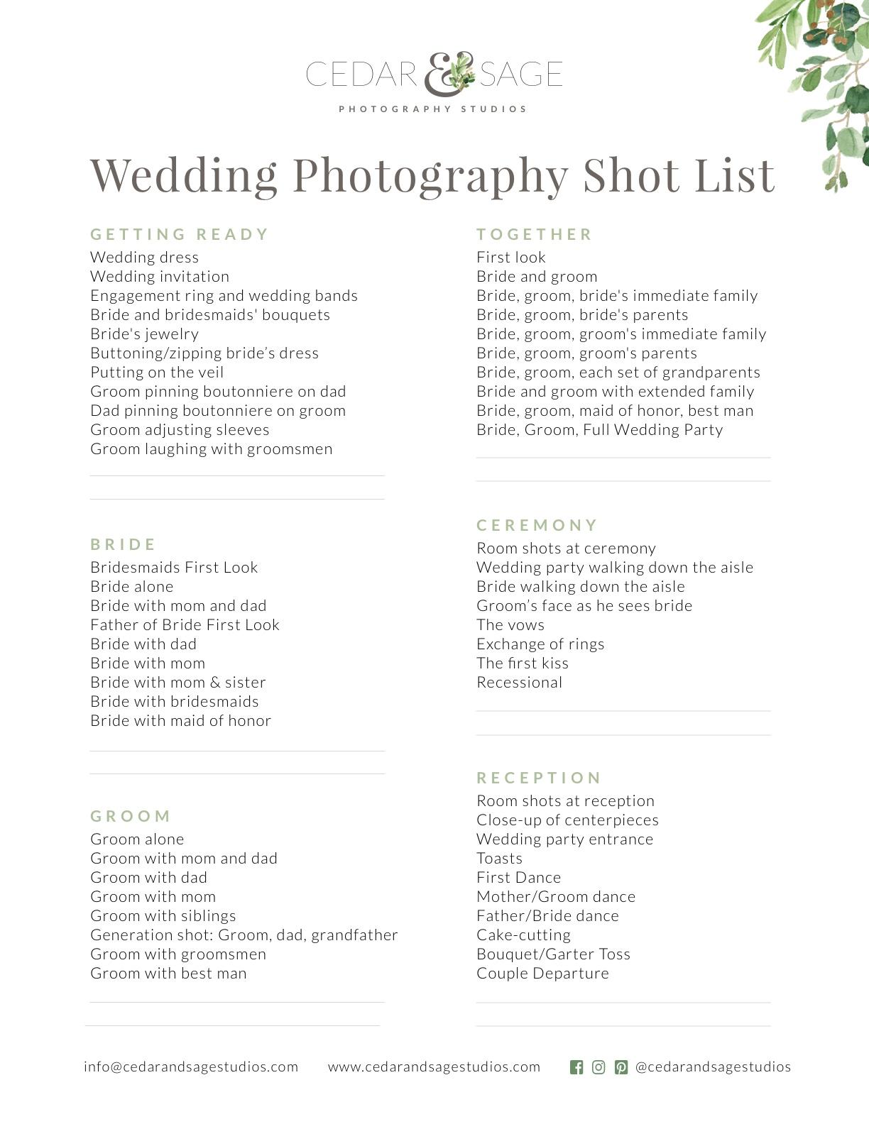 Wedding Photography Shot List In 2020 Wedding Photography Shot List Wedding Photography Checklist Wedding Photo Checklist